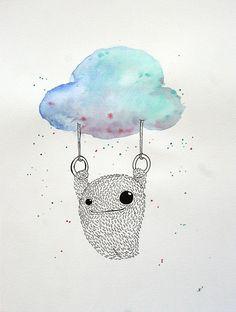 Ann-Kathrin Nikolov: Just hanging. Aquarellfarbe und Tusche auf Aquarellpapier #Ringeturnen #Monsterchen #Wolke #Aquarell #annkathrinnikolov #monster #startyourart www.startyourart.de