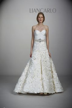 """Style 5823 silk taffeta bustier drop-waist ball gown with textured skirt, shown with beaded crystal """"coquillage"""" ribbon sash in platinum. Wedding Dress 2013, Wedding Dress Gallery, Wedding Dresses Photos, Gorgeous Wedding Dress, Fall Wedding Dresses, Wedding Dress Styles, Spring Dresses, Designer Wedding Dresses, Wedding Gowns"""