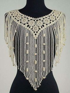Collar from the Metropolitan Museum of Art--- French from tatting and beads! The Nuns where I worked in the did tatting. Col Crochet, Crochet Collar, Irish Crochet, Crochet Shawl, Collar Macrame, Beaded Collar, Crochet Blouse, Easy Crochet, Free Crochet