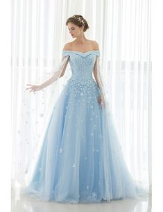 Blue Floral Off the Shoulder Long Tulle Wedding Dress