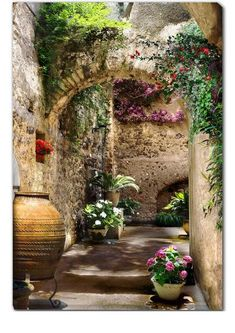 Our Aragonese Arches Outdoor Canvas Art features a stone pathway filled with colorful flowers. Waterproof, UV protected and gallery wrapped outdoor art. Design Toscano, Beautiful Places, Beautiful Pictures, Balkon Design, Mediterranean Home Decor, Outdoor Art, Indoor Outdoor, Outdoor Living, Garden Design