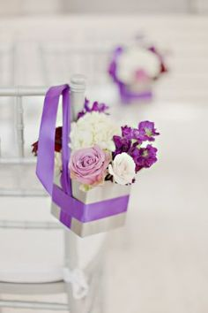 Lavender and Cream Floral Aisle Decor | photography by http://www.ivy-weddings.com/