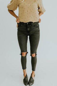 Free People Busted Skinny in Washed Black | ROOLEE