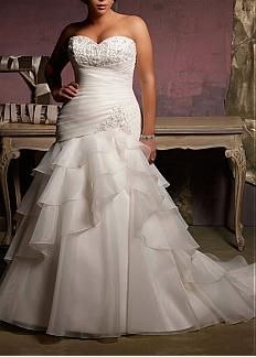 Stunning Organza Satin Mermaid/trumpet Strapless Sweetheart Neckline Plus Size Wedding Dress With Lace Appliques,Beadings and Manmade Diamonds