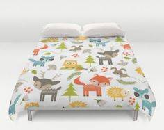 Animals Duvet Cover, Animal Duvet, Animals Bedding, Animals Bedroom, Woodland Animals, Childrens Duvet, Kids Duvet, Animals Comforter, Girls by peppermintcreek. Explore more products on http://peppermintcreek.etsy.com