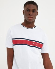 NICCE Mens Varsity T-shirt White New mens NICCE summer 2019 collection Mens t-shirt crew neck short sleeves machine wash light weight cotton White colour with nicce logo on chest Style Varsity Stripe panel styling Fake Tan, Underwear, Short Sleeves, Mens Tops, T Shirt, Style, Fashion, Supreme T Shirt, Swag
