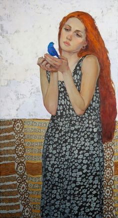 Blue Bird by Victoria Kalaichi Redheads FTW! L'art Du Portrait, Figurative Kunst, Victoria, Figure Painting, Woman Painting, Love Art, Blue Bird, Female Art, Art Drawings