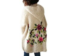 Embriyodered Hand Knitted Wool Cardigan