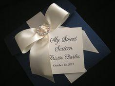 50 Wedding Indigo Blue Pocketfold & CREAM Bow with Round Rhinestone Buckle Invitations - 15th, 16th, Wedding, Birthday, 40th, 60th on Etsy, $500.00