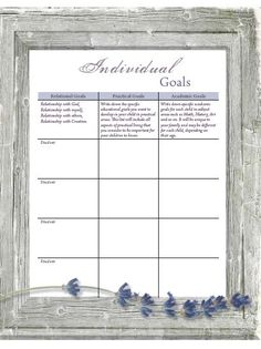 Individual Goals page included in the Keep on Track Homeschool Planner