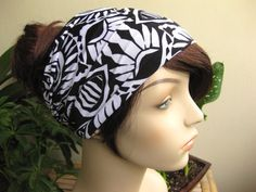 Back and White Tribal Jungle Turban, Head Wrap, Wide Hair Tube, Women's Yoga Wrap, Turband, Slip On Headband, Stretchy Headband #tribal #blackandwhite #headband #headwrap #jungle #hair