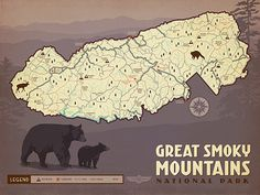 Map of Great Smoky Mtns National Park - Decorate with a sense of adventure. This classic map features the most popular trails, roads, rivers, lakes and attractions of Great Smoky Mountains National Park. Printed on gallery-grade paper, this rustic print will commemorate your favorite Smoky Mountain moments.