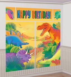 Vista delantera de mural decorativo de dinosaurios en stock
