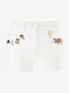 MOSCHINO Pin Embellished Denim Shorts. #moschino #cloth #