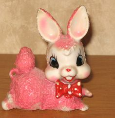 Vintage Japan Happy Easter Bunny Rabbit with Red Bow Figurine Pink Laying