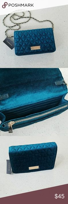 Bebe Sofia Velvet Crossbody Bag Chic & sophisticated, this lush teal green velvet bag complements your ensembles with ease. A chain strap ensures effortless carry. It can also be use as a clutch. bebe Bags Crossbody Bags