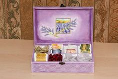 Wooden Tea Box Unique decoupage tea box Lilac & White by BeauMiracle, $55.00