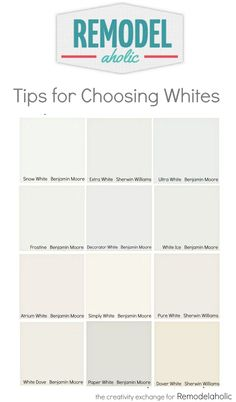 Tricks for easily choosing white paint colors. Remodelaholic Tricks for easily choosing white paint colors. Best Interior Paint, Interior Paint Colors, Paint Colors For Home, Paint Colours, Interior Decorating, Interior Painting, Decorating Ideas, Interior Design, Off White Paint Colors
