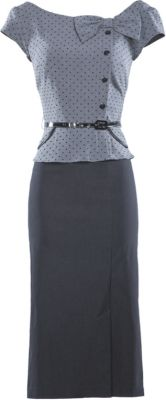 PRKPL-03 GFBLS - the Park Place dress is the perfect combination of business and casual. The bodice is gray with small black dots, with a flattering boat neckline, cap sleeves, and an offset decorative bow and column of black buttons. The top flares out a little at the hips, hiding any tummy flaws. The dress comes with 1/2 inch black patent leather belt at the waist. The skirt is black and fitted, but less stretchy than our other styles. Keep in mind that this dress is all one piece, not…