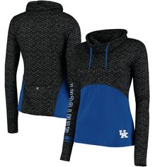 Women's Colosseum Black/Royal Kentucky Wildcats Scaled Cowl Neck Pullover Hoodie
