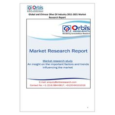 The 'Global and Chinese Olive Oil Industry, 2011-2021 Market Research Report' is a professional and in-depth study on the current state of the global Olive Oil industry with a focus on the Chinese market.   Browse the full report @ http://orbisresearch.com/reports/index/global-and-chinese-olive-oil-industry-2011-2021-market-research-report .  Request a sample for this report @ http://orbisresearch.com/contacts/request-sample/173013 .