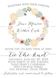 Vintage Floral Wedding Invitation by JulsNewbrough on Etsy, $35.00