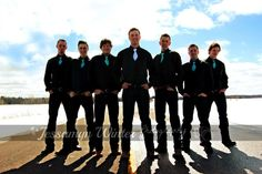 Wedding - My son Cade & his groomsmen. Pics by Jessamyn Winter Photography on Facebook. Dark jeans, black shirts & vests,  blue ties. Cowboy boots, and all packin'.