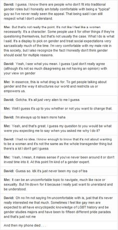 second part of my text conversation with david regarding drag and why i do it