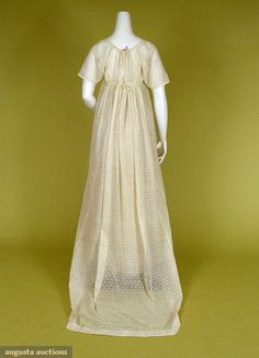 """Dot embroidered & trained dress, c.1805. Augusta Auctions: """"Sheer cotton muslin, hand embroidered with allover dot and sprig pattern, very high waist, square neckline, short plain sleeves, slim skirt with pointed train, two center back drawstring ties"""""""