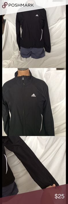 Black Adidas Windbreaker Jacket Super cute, has been worn but still in good condition! Reflective material around pockets and back of neck. Shell 100% polyester. Lining 100% nylon. No trades! Elastic around the wrists. Adidas Jackets & Coats