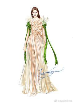 Arte Fashion, B Fashion, Flower Fashion, Fashion Models, Luxury Fashion, Fashion Design Drawings, Fashion Sketches, Fashion Drawing Dresses, Designs To Draw