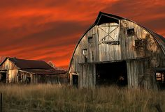 Old barn and Shed red sky |  The last light of the day for this old barn and little shed , they have done their time and are falling apart gradually but for sure.— fineartamerica.com