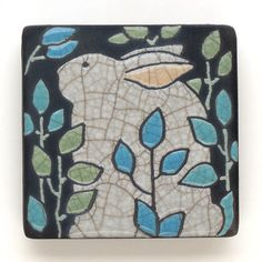 Hey, I found this really awesome Etsy listing at http://www.etsy.com/listing/162303350/rabbitbunnyceramic-tile3x3-raku-fired
