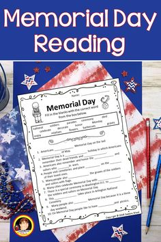 Comprehension Questions, Reading Comprehension, Memorial Day Holiday, Fact And Opinion, Common Core Ela, Esl Lessons, Art Curriculum, Reading Passages, Literacy Centers