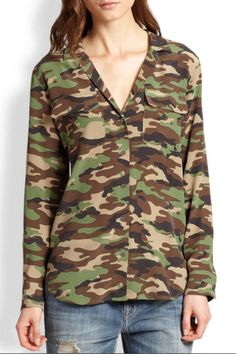 The Blaise blouse features a clean front deep v-neck, relaxed fit and a pajama style collar. This blouse features the classic Equipment camo print.   Blaise Silk Blouse by Equipment. Clothing - Tops - Blouses & Shirts Clothing - Tops - Long Sleeve Canada