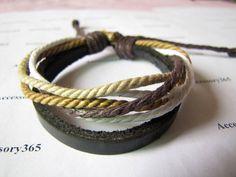.Cotton Ropes and Soft Leather Cuff Bracelets Women Men Bracelet by braceletcool, $3.50