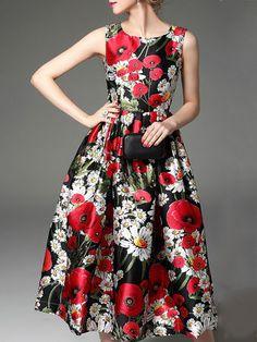Floral-print Swing Sleeveless Midi Dress
