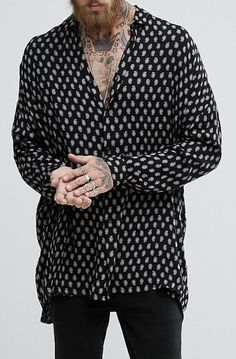 ASOS Oversized Longline Viscose Shirt With Drop Shoulder and Paisley Print from ASOS (men, style, fashion, clothing, shopping, recommendations, stylish, menswear, male, streetstyle, inspo, outfit, fall, winter, spring, summer, personal)