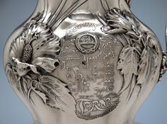 Inscription on the Whiting Antique Sterling Silver Art Nouveau Water Pitcher and Yachting Trophy, New York City, 1904
