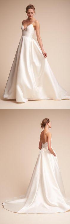 Long Wedding Dress, Satin Wedding Dress, Spaghetti Straps Bridal Dress, Sleeveless Wedding Dress, Backless Wedding Dress, V-Neck Wedding Dress, 17503