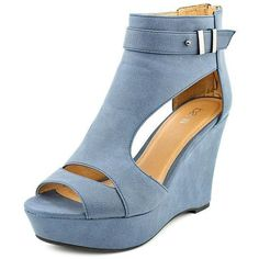 Bar III Women's 'Susie' Blue Faux Leather Sandals ($80) ❤ liked on Polyvore featuring shoes, sandals, blue, cut out sandals, peep toe sandals, faux leather sandals, blue high heel shoes и wedges shoes