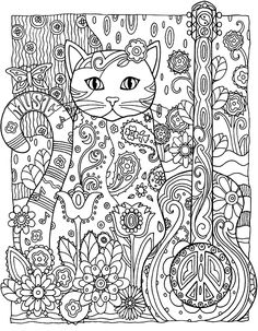 To print this free coloring page «coloring-adult-cat-guitar», click on the printer icon at the right