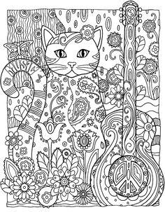 Galerie de coloriages gratuits coloriage-adulte-animaux-chat-guitare. Un chat guitariste ? Ça existe, la preuve !
