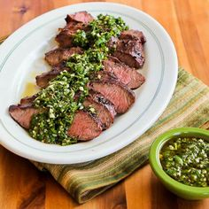 Steak and chimichurri idea. so easy and tasty. Kalyn's Kitchen®: Grilled Flat Iron Steak Recipe with Chimichurri Sauce Grilled Steak Recipes, Grilling Recipes, Beef Recipes, Chicken Recipes, Cooking Recipes, Healthy Recipes, Grilling Ideas, Grilled Steaks, Healthy Grilling
