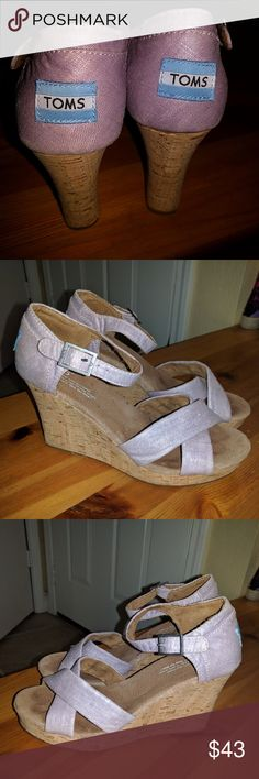 Euc Tom's burlap wedge platform sandal. Worn once. Too large for me. Lavender with a bit of sparkle. Shoes Wedges