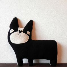 Bronson the Dog Wool Plush Pillow by threebadseeds on Etsy