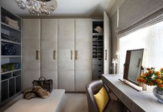 Lady's dressing room in a home in Yorkshire, UK designed by Fiona Barratt