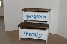 Farmhouse Step stool with personalization by MySquareWoodworking on Etsy