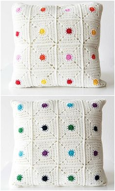"Hot spot pillow ""New pattern: Hot spot pillow! (Haak Maar Raak) New pattern: Hot spot pillow!"", ""Hot Spot Pillow By Kirsten - Purchased Crochet Pattern Crochet Pillow Cases, Crochet Cushion Cover, Crochet Pillow Pattern, Crochet Cushions, Crochet Afghans, Crochet Squares, Crochet Granny, Crochet Motif, Crochet Designs"