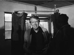 Jimmy Carter emerges from a Georgia voting booth on Election Day in November 1976.